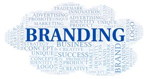 Branding word cloud. Wordcloud made with text only royalty free illustration