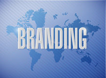 Branding world map sign concept illustration Royalty Free Stock Photos