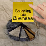 Branding your business with pie chart crumpled recycle paper. As concept Stock Photo