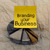 Branding your business with pie chart crumpled recycle paper Royalty Free Stock Photography