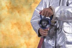 Brandkämpe på vit bakgrund Fotografering för Bildbyråer