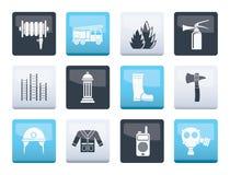 Brandkår- och brandmanutrustningsymboler över färgbakgrund stock illustrationer