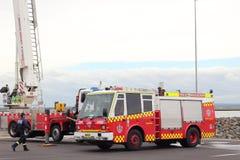 Brandkårlastbilar Fotografering för Bildbyråer