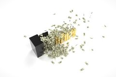 Brandkast, dollar en crisis Royalty-vrije Stock Afbeelding