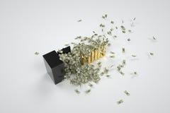 Brandkast en 100 dollars Stock Foto's
