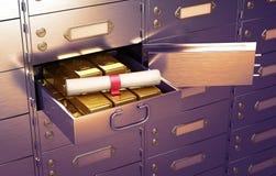 Brandkast met een open cel, volledig van goudstaven Royalty-vrije Stock Foto