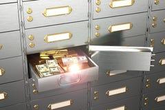 Brandkast met een open cel, volledig van honderd-dollar rekeningen en goudstaven Royalty-vrije Stock Afbeeldingen