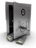 Brandkast met geld Royalty-vrije Stock Foto