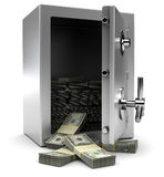 Brandkast met geld Stock Foto's