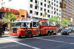 Brandlastbil i New York City Arkivfoto