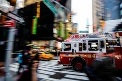 Brandlastbil i NYC Arkivbild