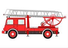 Brandlastbil med en stege. royaltyfri illustrationer