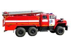 Brandlastbil på en vit Arkivbilder