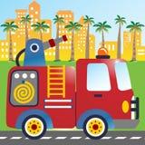 Brandlastbilen rusar på royaltyfri illustrationer
