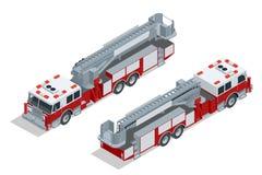 Brandlastbilen rusar på Hjälp för branddämpning och offer Plan isometrisk högkvalitativ transportsymbol för stad 3d Arkivfoton