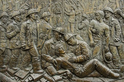 Brandmän för FDNY-bataljon 9 9/11 minnes- lättnad, Firehousemotor 54, stege 4 & bataljon 9, teaterområde, New York City Fotografering för Bildbyråer