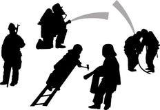 Brandmän i handlinguppsättning 1 del silhouettes sportvektorn Royaltyfria Bilder