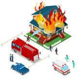 Brandmän släcker en brand i isometrisk stad för hus Sårad kvinna för brandmanhjälp stock illustrationer