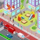 Brandmän släcker en brand i isometrisk stad för hus Sårad kvinna för brandmanhjälp royaltyfri illustrationer