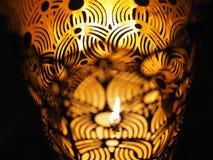 Brandmakrofoto, brännande stearinljus arkivfoto
