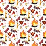 Brandman för vektorbildmodell och brandlastbil stock illustrationer