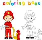 Brandman i en röd likformig och hjälm med en slang i hans hand kolonn stock illustrationer