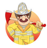 Brandman i likformig med yxa Royaltyfria Bilder