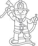 Brandman med en yxa Arkivbild