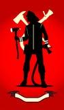Brandman med yxan och spridaren, bakgrundscom för röd färg royaltyfri illustrationer