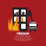 Brandman på lastbilen som hjälper offren Royaltyfria Bilder