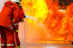 Brandman utbildning brandman Royaltyfria Foton