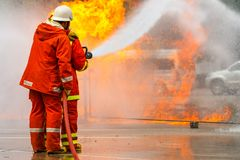Brandman utbildning brandman Royaltyfri Fotografi