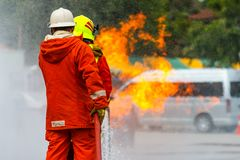 Brandman utbildning brandman Royaltyfri Bild