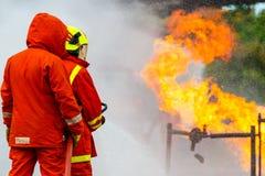 Brandman utbildning brandman Fotografering för Bildbyråer