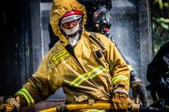 Brandman utbildning Arkivfoton