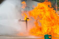 Brandman utbildning Fotografering för Bildbyråer