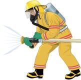 BrandmanAttacking Fire Vector illustration vektor illustrationer