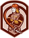 Brandmanbrandman Retro Folding Arms Shield royaltyfri illustrationer
