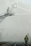 brandmanjärnvägspår royaltyfri bild