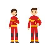 Brandmanman och kvinna stock illustrationer