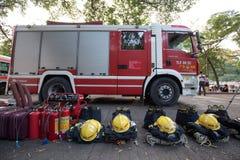 Brandmannen är standby- i baiyunberg parkerar i dubbel nionde festival i det guangzhou porslinet royaltyfri fotografi