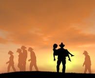 Brandmannen räddar kvinnan på solnedgången Fotografering för Bildbyråer