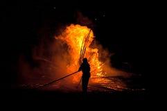 brandmansilhouette Royaltyfri Bild