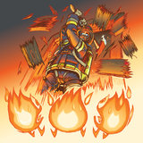 Brandmanslagsmålbrand med en yxa Arkivbilder