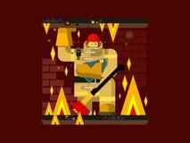 Brandmanteckenet med behandla som ett barn vektor illustrationer