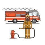 Brandmantjänsteman i personlig skyddande utrustning som framme står av lastbilen för brandmotor vektor illustrationer
