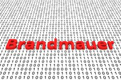Brandmauer. In the form of binary code, 3D illustration Royalty Free Stock Photography