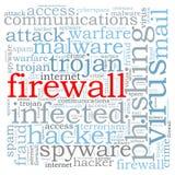 Brandmauer-Viruswortwolke Stockfotografie