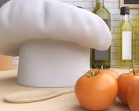 Brandmerkende modelkeuken met lijst en keukengerei stock fotografie