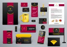 Brandmerkende ontwerpuitrusting voor juwelenwinkel, hotel of koffie Royalty-vrije Stock Afbeeldingen